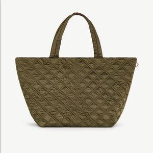 Olive Green Quilted Nylon Tote Bag